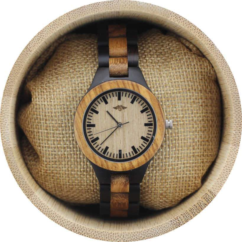 Angie Wood Creations Zebrawood and Ebony Women's Watch with Bamboo Dial
