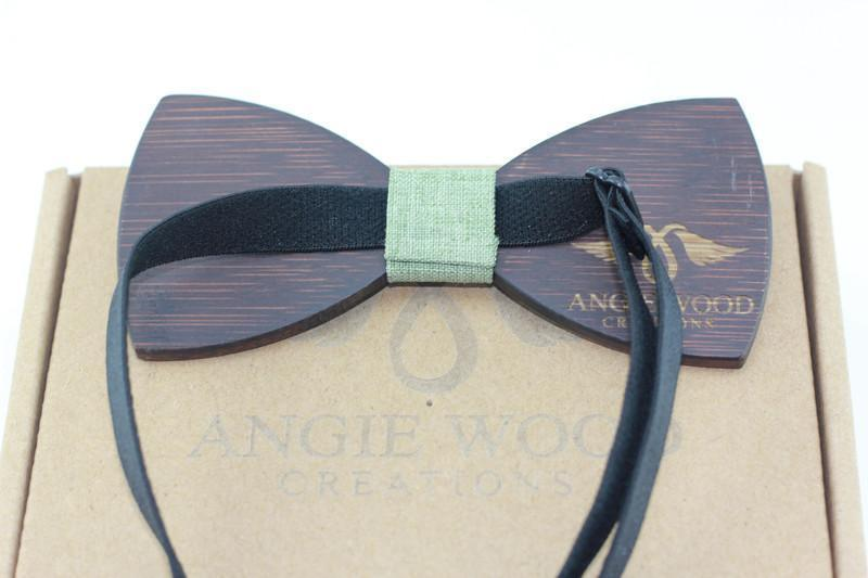 Angiewoodcreations Wooden bow tie Not Engraving on bowtie 100% Natural Eco-friendly handmade Floral Wooden Bow Tie with green ribbon