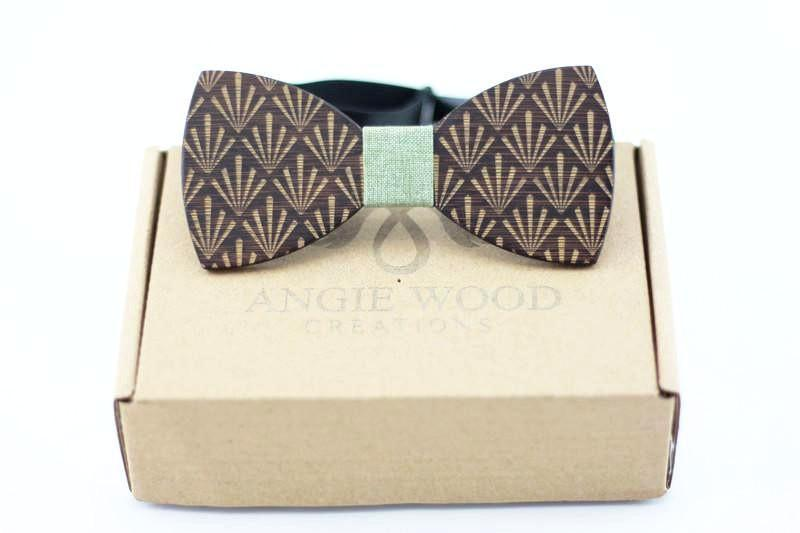 100% Natural Eco-friendly Handmade Floral Wooden Bow Tie with Green Ribbon