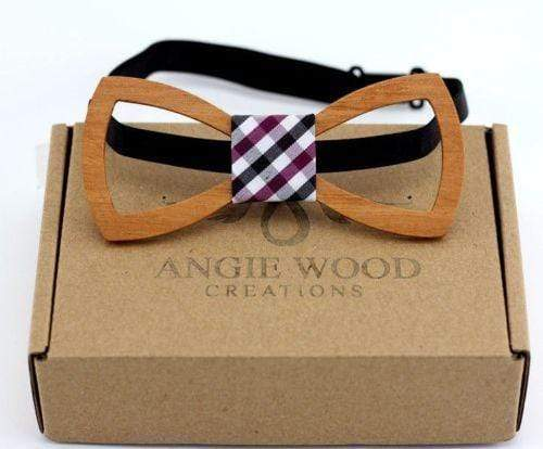 100% Natural Eco-friendly Handmade Floral Wooden Bow Tie with Square pattern