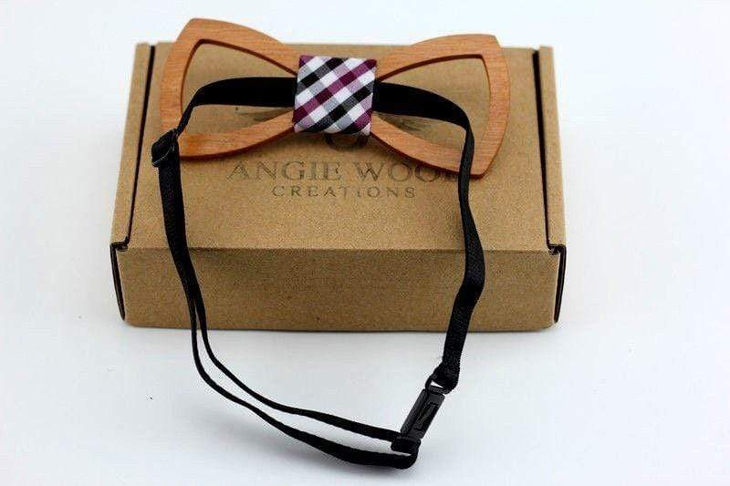 Angiewoodcreations Wooden bow tie Not Engraving on bowtie 100% Natural Eco-friendly handmade Floral Wooden Bow Tie with Square pattern