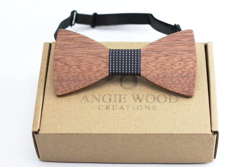 100% Natural Eco-friendly handmade Wooden Bow Tie with black dot ribbon