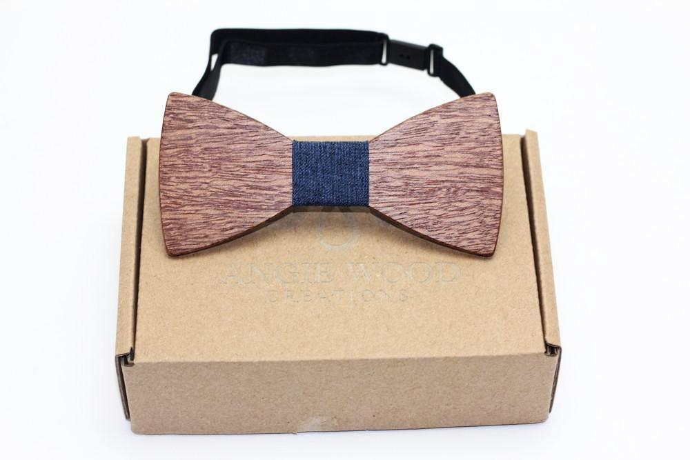 100% Natural Eco-friendly handmade Wooden Bow Tie with blue denim ribbon