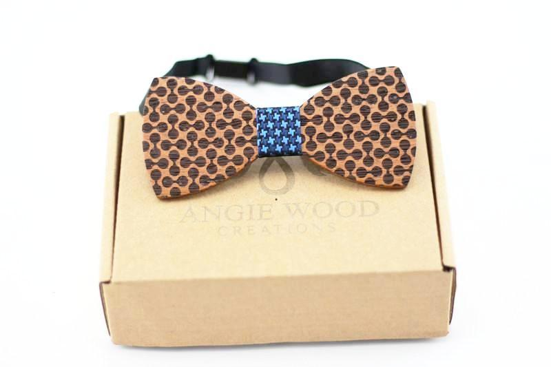 100% Natural Eco-friendly handmade Wooden Bow Tie with blue ribbon