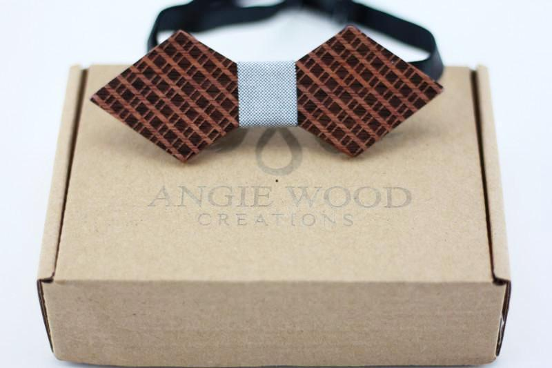 100% Natural Eco-friendly handmade Wooden Bow Tie with light blue denim ribbon