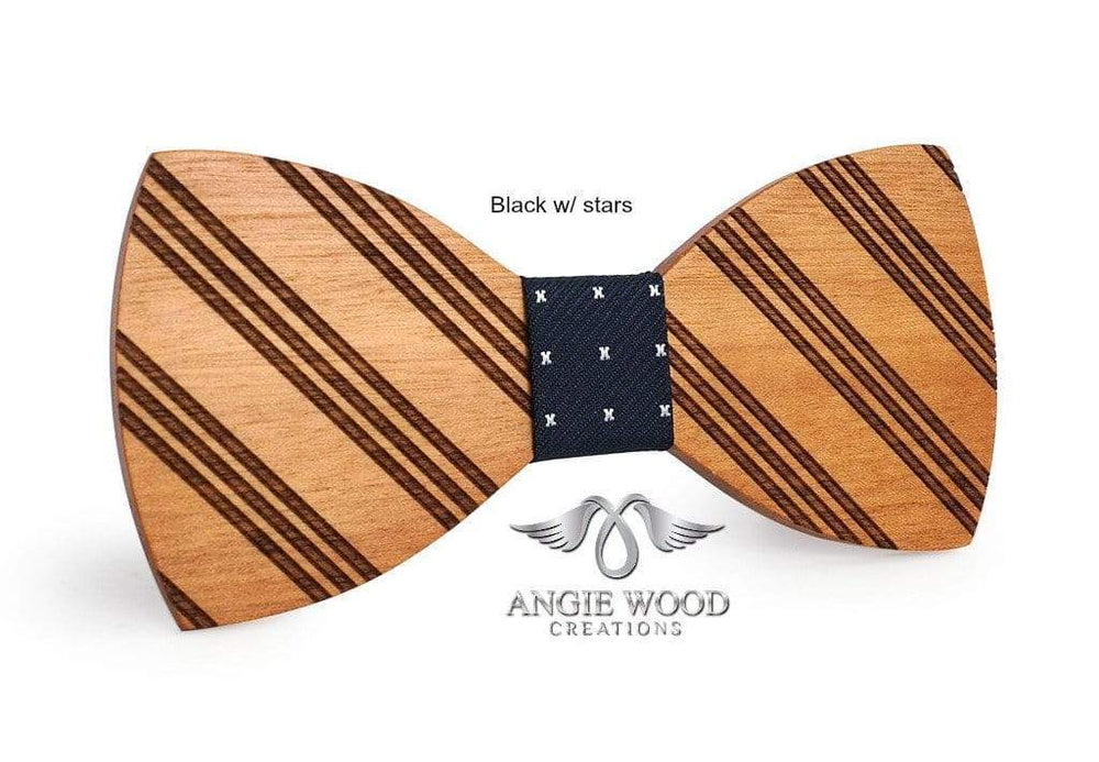 Angiewoodcreations Wooden bow tie PLAIN BLACK 100% Natural Eco-friendly handmade Wooden Bow Tie