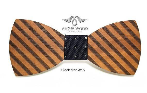 Angiewoodcreations Wooden bow tie W12 Brown 100% Natural Eco-friendly handmade Wooden Bow Tie