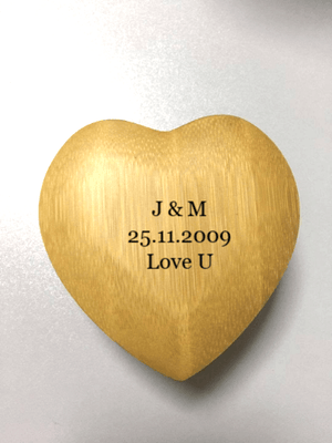 AngieWoodCreationsCo Engrave Bamboo Box 2) bamboo / Engrave Love Heart Personalized Ring Box - Custom Wood Ring Box - Ring Bearer Box - Proposal Ring Box - Anniversary Gift - Wedding,