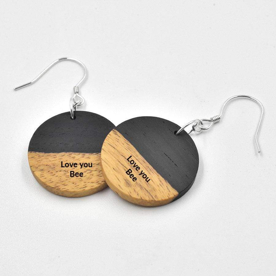 925 Silver Engrave Wood Earrings, Personalized Wood Earrings, Earrings, Women Earrings,Wood Jewerly,Engraving earrings,Round earrings