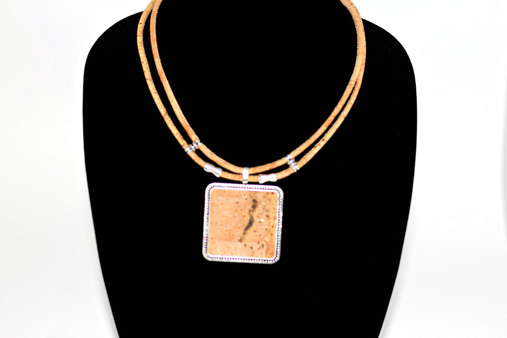 Cork Necklace,Necklace women,Cork engrave necklace