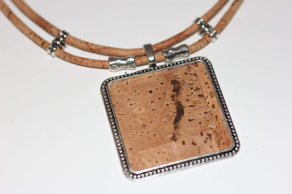 AngieWoodCreationsCo Wood Necklace & Earrings Cork Necklace,Necklace women,Cork engrave necklace