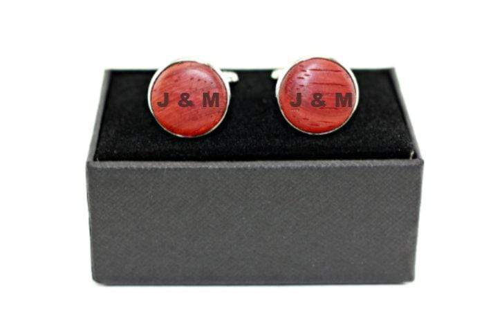 Engrave cufflink, wood cufflink, men cufflink,Red wood cufflinks,Personalized cufflink,Engraved cufflink,Fiance gift,Groomsman gift,Wedding