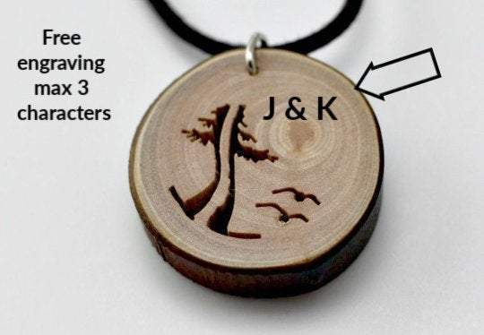 Engrave unique wood pendant from branches,Engrave wood necklace,Engrave jewerly,Personalized wood jewerly,Engrave necklace,Women necklace