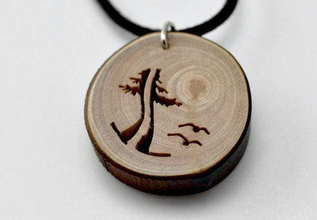 AngieWoodCreationsCo Wood Necklace & Earrings Engrave unique wood pendant from branches,Engrave wood necklace,Engrave jewerly,Personalized wood jewerly,Engrave necklace,Women necklace