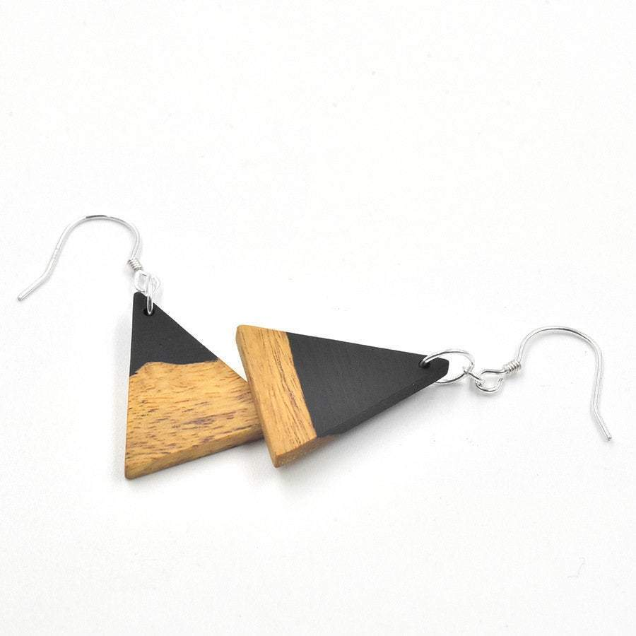 Engrave Wood Earrings,Personalized Wood Earrings,Wooden jewelry,Earrings,Wood Jewerly,Engraving earrings,Triangle earrings,Long hoopEarrings