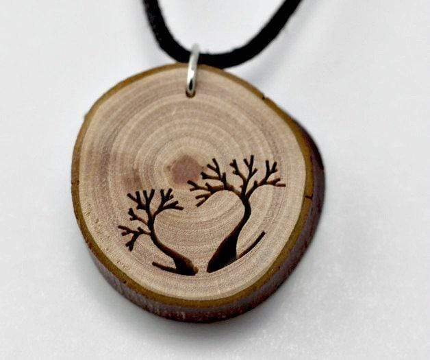 Engrave Wood Necklace,5th year anniversary, Unique wood pendant from branches,Wood necklace,Love wood necklace,Love tree necklace