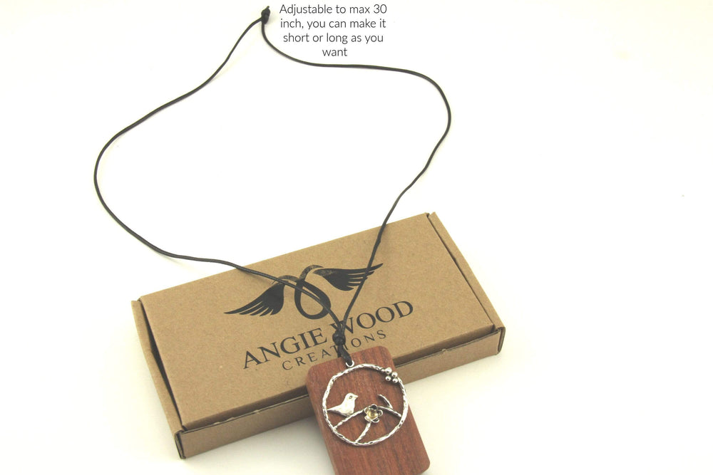 AngieWoodCreationsCo Wood Necklace & Earrings Engrave Wood Necklace, Personalized Wood Necklace, Unique wood pendant from branches,Wood necklace,Love wood necklace,Love tree necklace