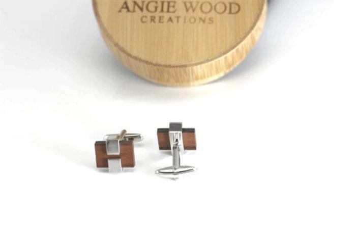 AngieWoodCreationsCo Cufflinks and Tie Clips Engraved cufflink, wood cufflink, men cufflink,Engraved tie clip, wood tie clip, men tie clip,Wooden tie-clip,Wood