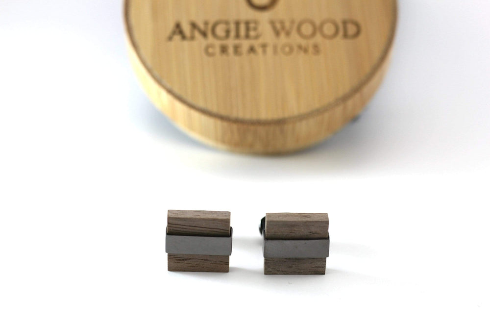AngieWoodCreationsCo Cufflinks and Tie Clips Engraved cufflink, wood cufflink, men cufflink,Wedding cufflinks,Groomsman Cufflinks,Cufflinks,Men accessories,Husband gift,Fiance(CL007)