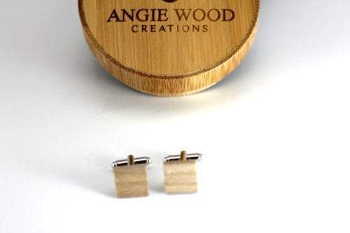 AngieWoodCreationsCo Cufflinks and Tie Clips Engraved cufflink, wood cufflink, men cufflink,Wooden cufflinks,Wood,Groomsman cufflinks,Grooms gift,Personalized cufflinks,Engraved (CL001)