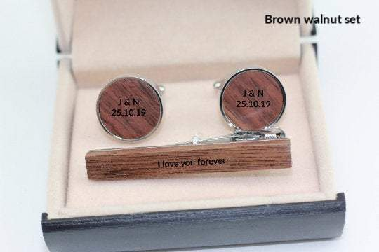 AngieWoodCreationsCo Cufflinks and Tie Clips Engraved cufflink, wood cufflink, Wood Cufflinks - Father's Day Gift, 5th anniversary, groomsmen gift, wedding cuff links, Gift for him