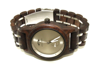 AngieWoodCreationsCo Men Wood Watches Engraved Rosewood Men's Watch With Stainless Steel Inlay (W149)