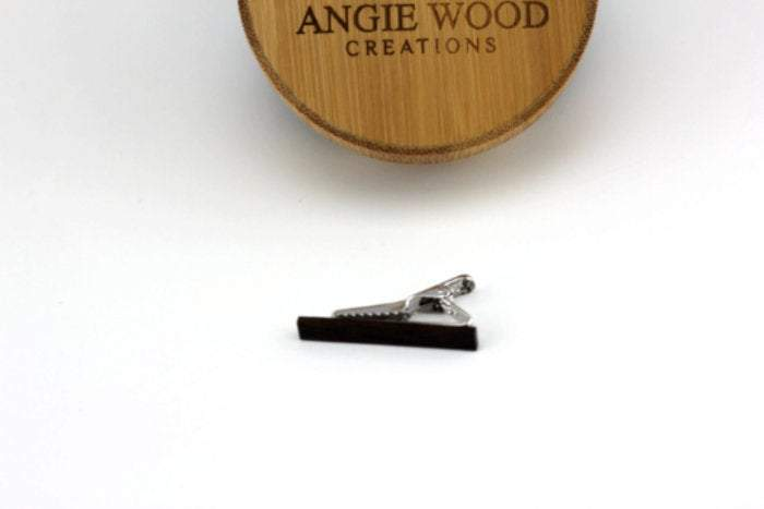 AngieWoodCreationsCo Cufflinks and Tie Clips Engraved tie clip, wood tie clip, men tie clip,Wooden tie-clip,Wood,Groomsmen tie clip,Grooms gift,Personalized cufflinks,Engraved TC004