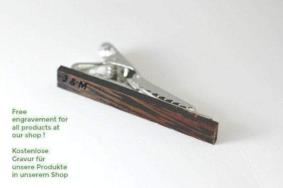 Engraved tie clip, wood tie clip, men tie clip,Wooden tie-clip,Wood,Groomsmen tie clip,Grooms gift,Personalized cufflinks,Engraved TC004