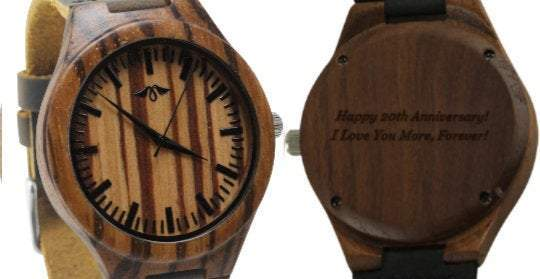 AngieWoodCreationsCo Leather/PU Men WoodWatch Engraved Zebra Wood Men's Watch With Brown Leather Strap,Leather Wood Watch,Men Watch,Engrave Watch,Personalized Watch,Fiance gift(W153)