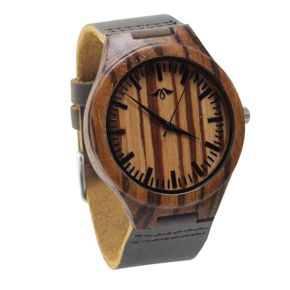 Engraved Zebra Wood Men's Watch With Brown Leather Strap,Leather Wood Watch,Men Watch,Engrave Watch,Personalized Watch,Fiance gift(W153)
