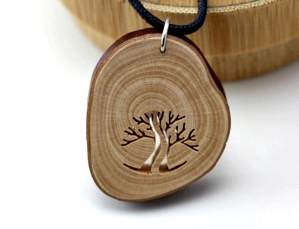 Handcraft unique wood pendant from branches,Engrave wood necklace,Women wood necklace,Unisex necklace,Men necklace, Arbutus Branch Pendant