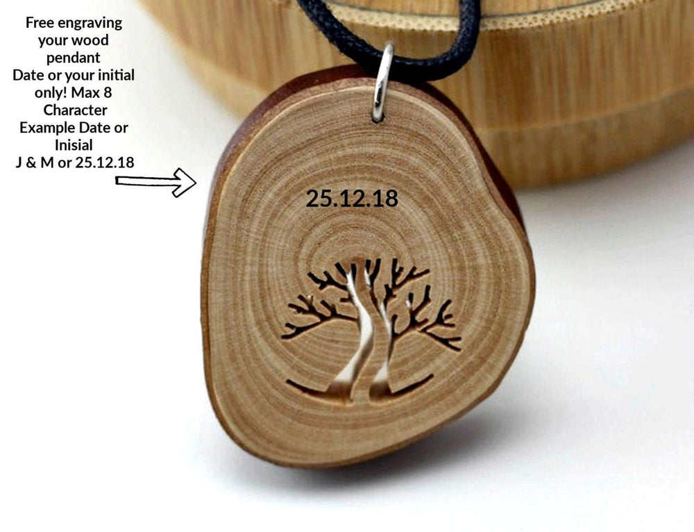 AngieWoodCreationsCo Wood Necklace & Earrings Handcraft unique wood pendant from branches,Engrave wood necklace,Women wood necklace,Unisex necklace,Men necklace, Arbutus Branch Pendant