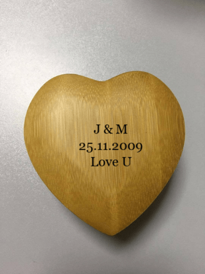 AngieWoodCreationsCo Engrave Bamboo Box Love Heart Personalized Ring Box - Custom Wood Ring Box - Ring Bearer Box - Proposal Ring Box - Anniversary Gift - Wedding,