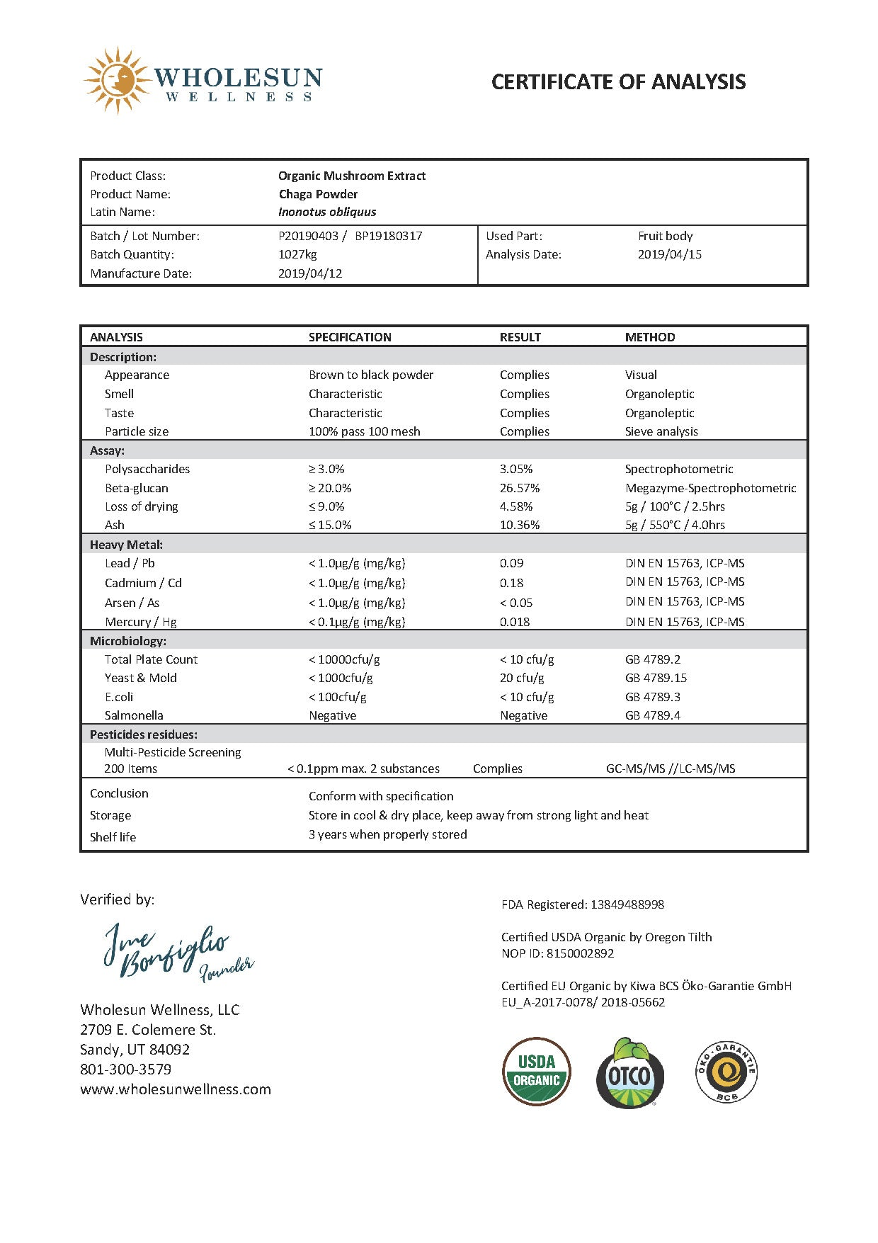 Chaga Mushroom Extract Powder Certificate of Analysis