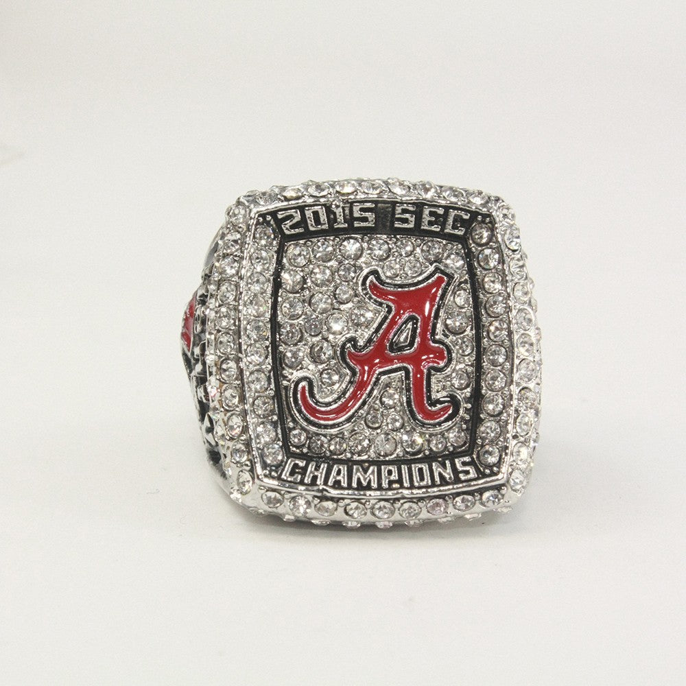 replica ncaa championship rings ring display with alabama case tide crimson wooden