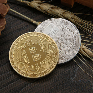BITCOIN COIN COLLECTIBLE - GOLD OR SILVER PLATED