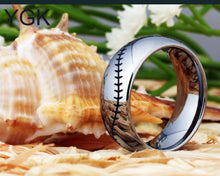 Silver Baseball Stitches Ring