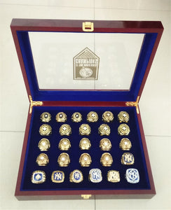 1923-2009 ALL 27 Pieces Set New York Yankees Rings With Wooden Display Box - Size 11