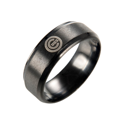 CHICAGO CUBS Black Stainless Steel Ring