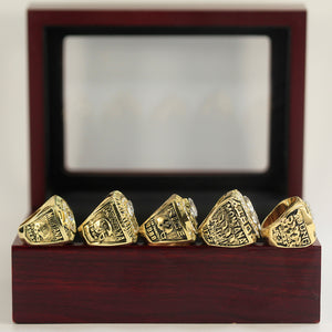 SAN FRANCISCO 49ERS CHAMPIONSHIP RING 5 PCS SET WITH WOODEN BOX 1981 1984 1988 1989 1994