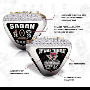 2017-2018 Alabama Crimson Tide Championship Ring - OFFICIAL DESIGN