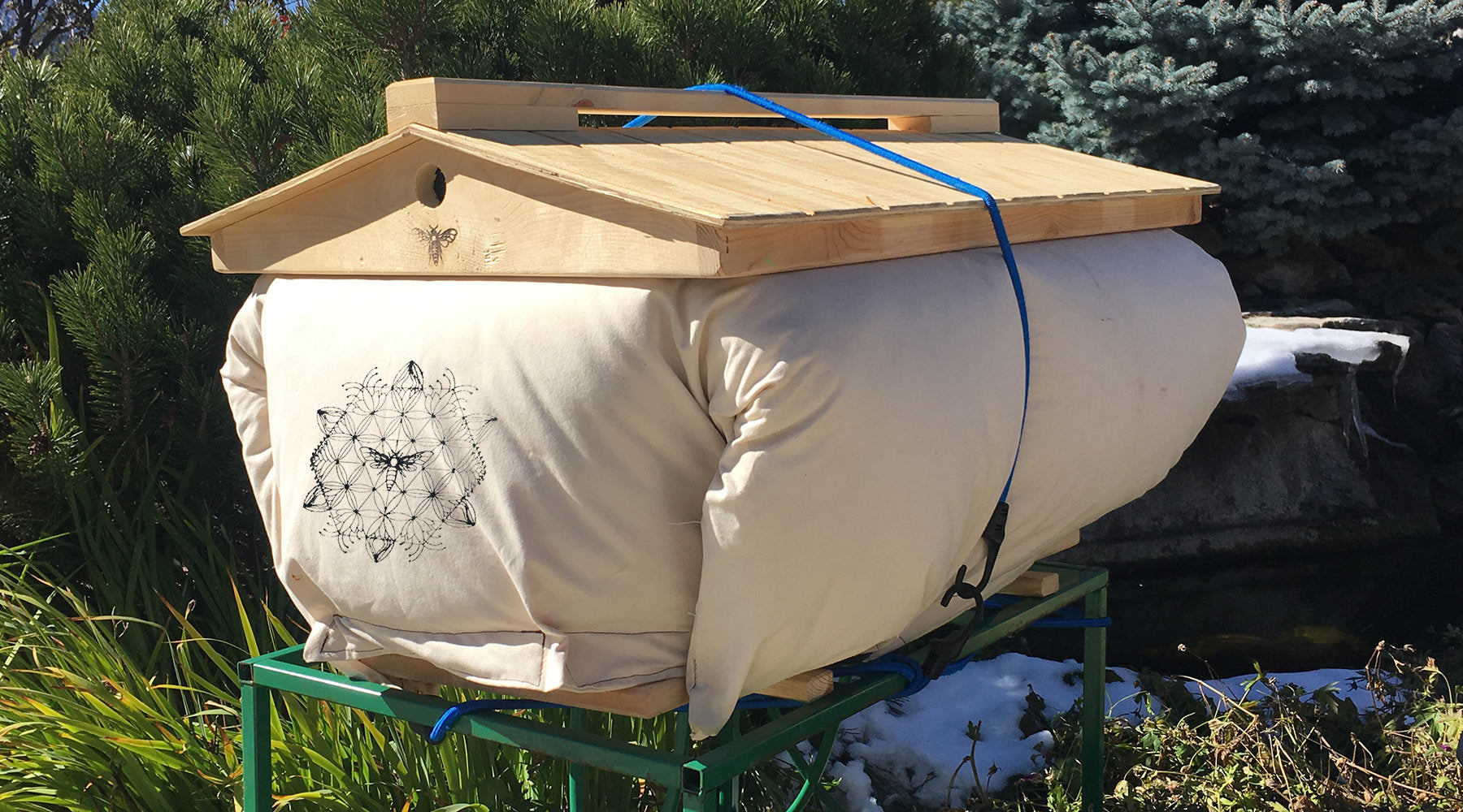 Overwintering Bees with our new Beehive Cozy Cover