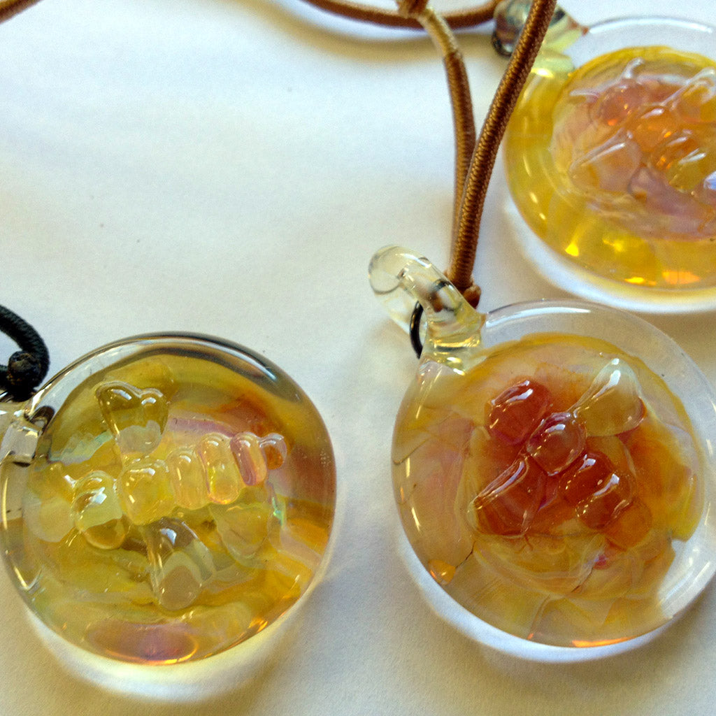 Glass Bee Pendant Beekeeping Gift