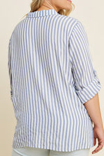 Blue Stripe Button-Down Twist Top