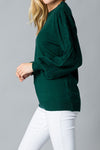 Hunter Green Balloon Sleeve Sweater
