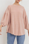 Balloon Sleeve Soft Chenille Top