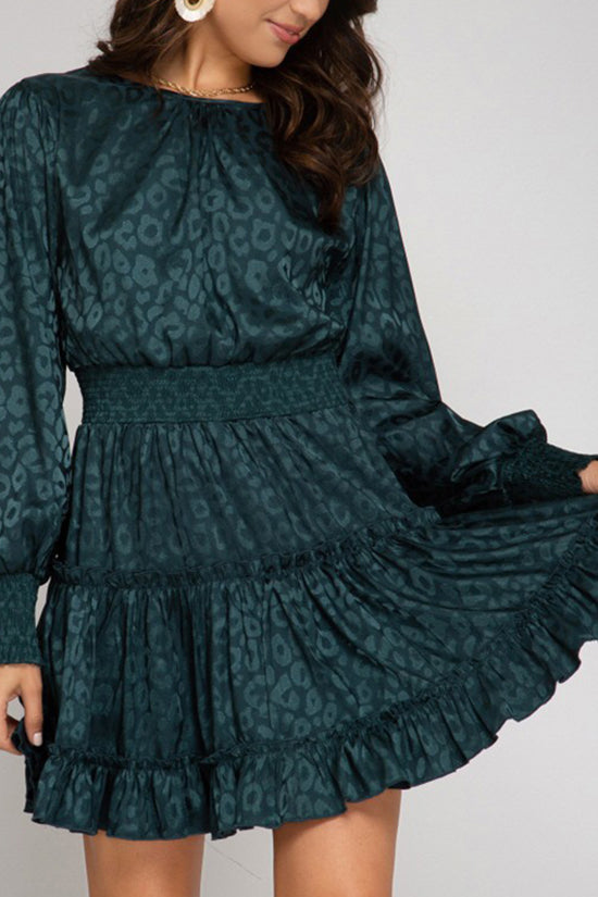 Dark Emerald Smock-waist Dress