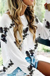 Black and White Long Sleeve Tie-dye Shirt