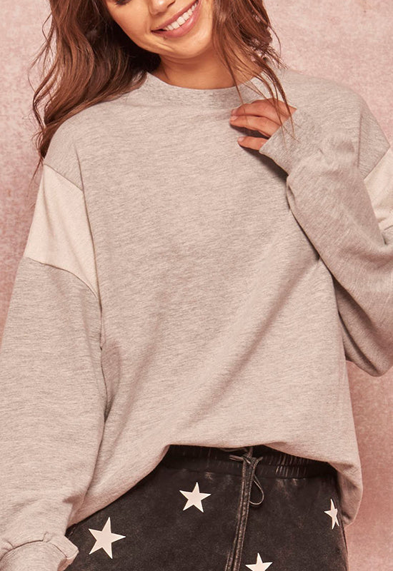 Gray Drop Sleeve Sweatshirt