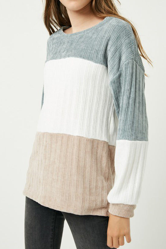Hayden Girls Taupe and Cream Sweater